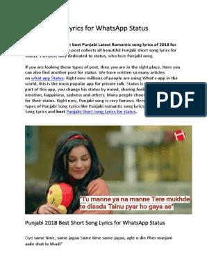 Punjabi Song Lyrics For Whatsapp Status Emotions Self