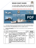 Official Notification for Indian Coast Guard Recruitment