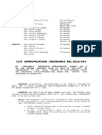 Cabadbaran City Appropriations Ordinance No. 2016-004