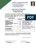 Certificado de Promoción 4b