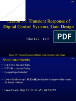 Lesson 37 Transient Response of Digital Control Systems, Gain Design