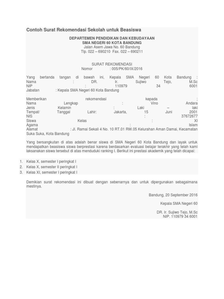 Contoh Surat Rekomendasi Sekolah Untuk Beasiswa