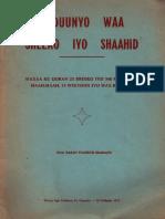 Adduunyo Waa Sheeko Iyo Shaahib
