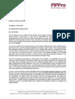 Carta firmada por los capitanes de Francia, Dinamarca y Australia.