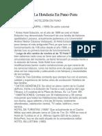 Historia de La Hoteleria en Puno