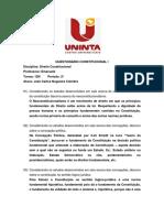 QUESTIONÁRIO CONSTITUCIONAL