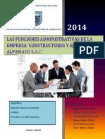 Funciones administrativas de la Empresa Constructores y Ejecutores Alpamayo S.A.C.