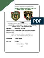Prevenir Combatir Investigar y Denunciar La Comisión de Los Delitos y Faltas Previstos en El Código Penal y Leyes Especiales Monografia Pnp