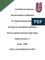 Conceptto de Normalidad en Medicina (Tarea).