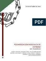 Polimerización radicálica de estireno.