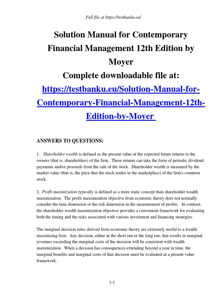 Solution Manual for Contemporary Financial Management 12th Edition by Moyer  | Stocks | Bonds (Finance)