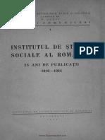 Institutul de Stiinte Sociale Al Romaniei-25 Ani de Publicatii-1919-1944