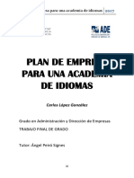 Plan de Empresa Para Una Academia de Idiomas