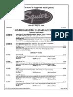 1998, July 15, Squier Price List