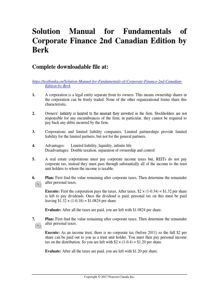 Solution Manual for Fundamentals of Corporate Finance 2nd Canadian Edition  by Berk | Corporate Tax | Corporations