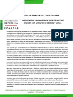 PRESIDENTE DE LA COMISIÓN DE PUEBLOS SOSTUVO REUNIÓN CON MINISTRO DE ENERGÍA Y MINAS