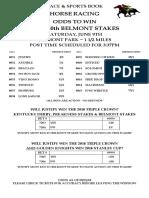 Wynn Las Vegas' Belmont Stakes 2018 odds