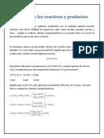 Pureza de Los Reactivos y Productos