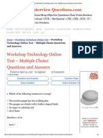 40 TOP Workshop Technology Online Test - Multiple Choice Questions and Answers
