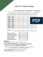 Ejercicio Excel No. 5 - Nomina de Pago