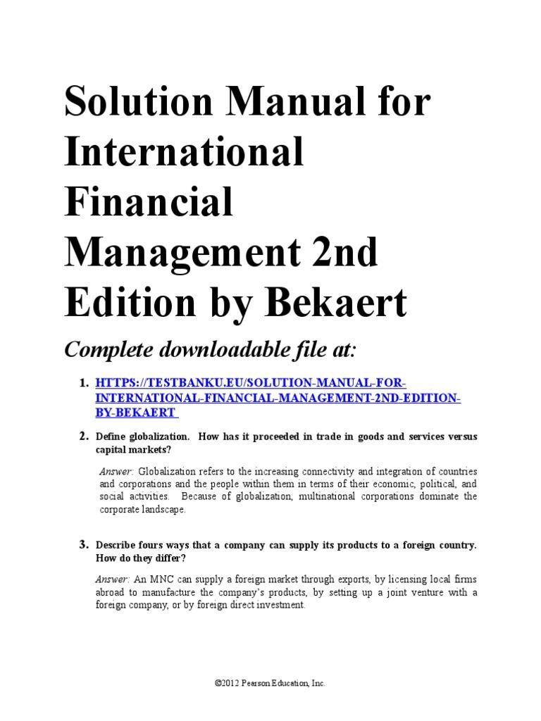 International financial management bekaert solution manual. Ifm manual  solution of chapter 7.