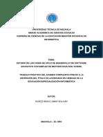 ESTUDIO DE LAS FASES DE CICLO DE DESARROLLO DE SOFTWARE EDUCATIVO CON EMPLEO DE METODOLOGÍA ÁGIL SCRUM.