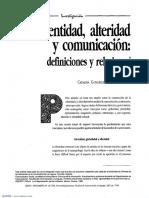 Catalina Gonzalez Identidad, Alteridad y Comunicación