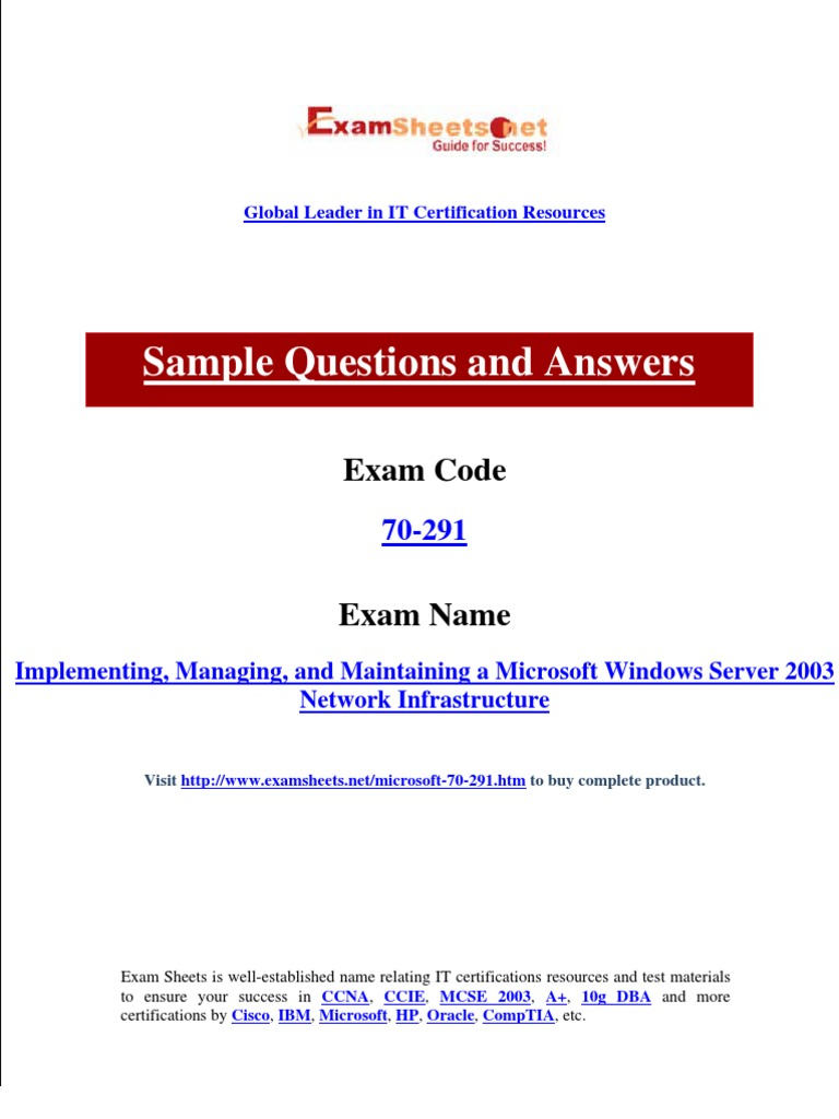 Microsoft Exam For 70 291 Implementing Managing And Maintaining A