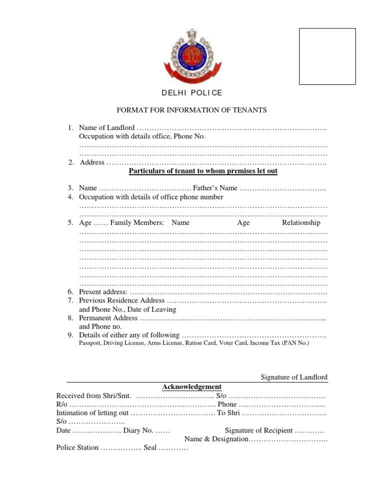 Delhi Police Tenant Verification Form Pdf Free Download included – Tenant Verification Form