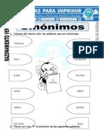 Ficha de Sinónimos Para Primero de Primaria