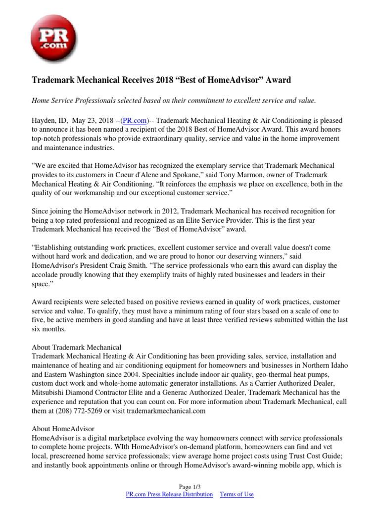"""Trademark Mechanical Receives 2018 """"Best of HomeAdvisor"""