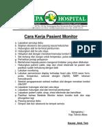 Cara Kerja Pasient Monitor