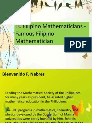 Philippine Famous Mathematicians | Physics & Mathematics | Mathematics