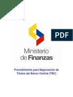 Procedimiento establecido por el Ministerio de Finanzas para la Negociacio´n de TBC