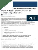 A Constituição Da República Federativa Do Brasil de 1988 e Os Instrumentos de Democracia Participativa
