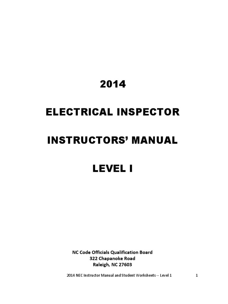 2014 NEC Electrical Instructor Manual and Student