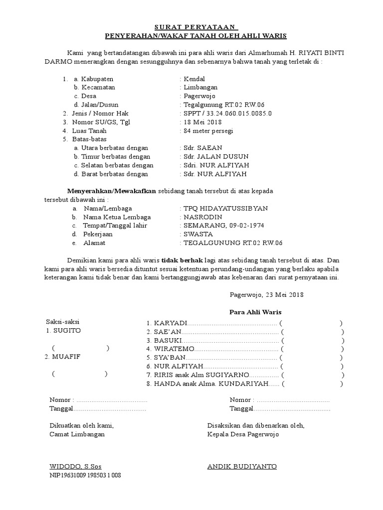 Suratperyataanpenyerahantanaholehahliwaris 140623054451 Phpapp02 Docx