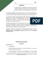 MEMORIA DESCRIPTIVA DE LA CONSTRUCCION DE AGUA POTABLE