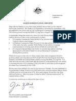 Long Tan Veteran Major Morrie Stanley - Australian Prime Minister Letter