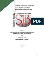 Complicaciones de La Apendicectomia Abierta vs Laparoscopica en Pacientes Obesos