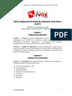 Bolivia Reglamento de Calidad de Carburantes, 20 de Febrero de 2013