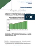 Producto Interno Bruto de México durante el Primer Trimestre de 2018