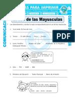 Ficha Uso de Las Mayusculas Ejercicios Para Cuarto de Primaria
