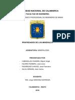 informe de las propiedades de los minerales
