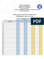 Attendance for Inset