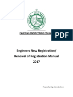 PEC Engineers New Registration and Renewal of Registration Manual 2017