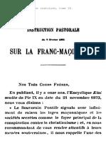 Instruction Pastorale Sur La Franc-maconnerie