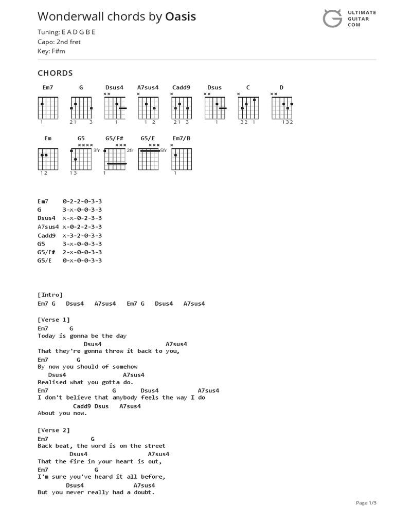 Wonderwall Chords Ver 15 by Oasistabs at Ultimate Guitar Archive ...