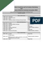 Schedule SRISTI UNICEF Summer School on Inclusive Innovation 2018.Docx