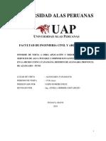 Informe de Visita a Obra Aplicación y Mejoramiento de Los Servicios de Agua Potable y Disposicion Sanitaria de Excretas en La Micro Cuenca Yanamayo